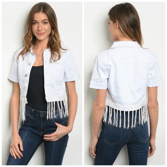 Litz Jackets & Blazers - NEW! Short Sleeved White Denim Jacket with Fringe